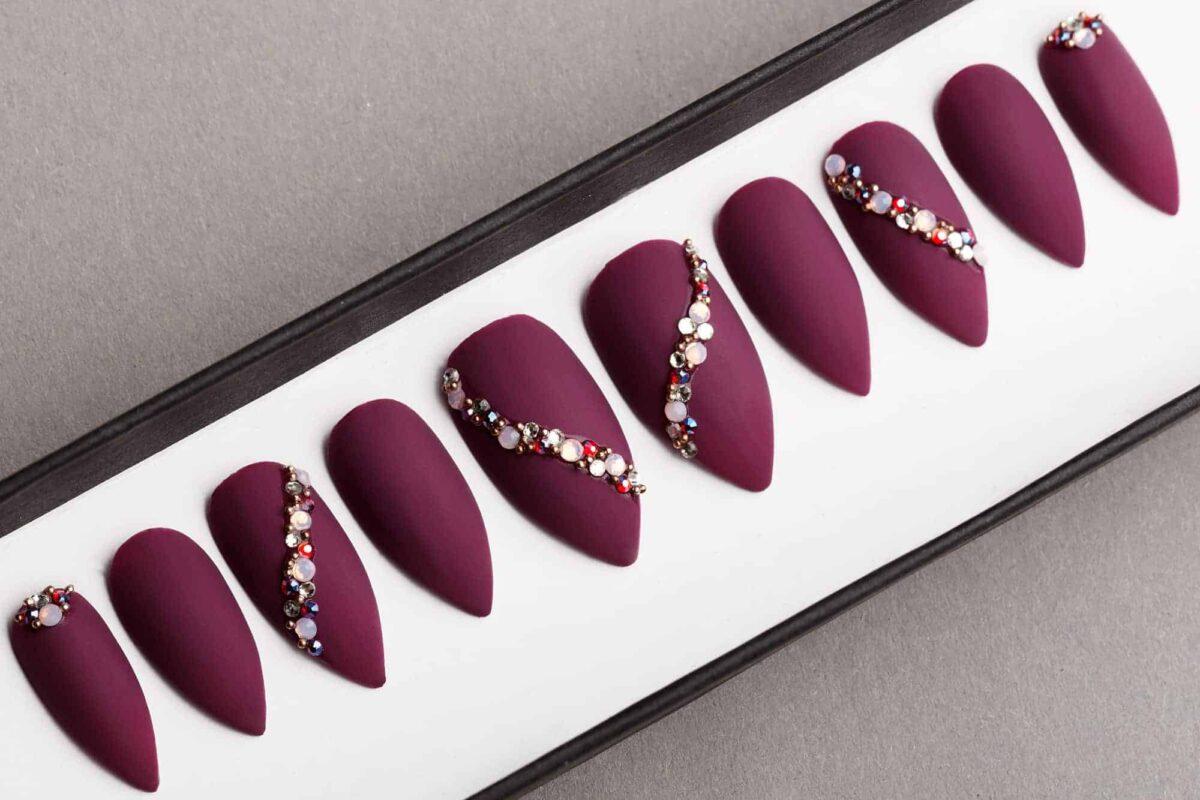 Burgundy Press on Nails with Swarovski Crystals   False Nails   Glue On Nails   Hand-painted Nail Art   Fake Nails