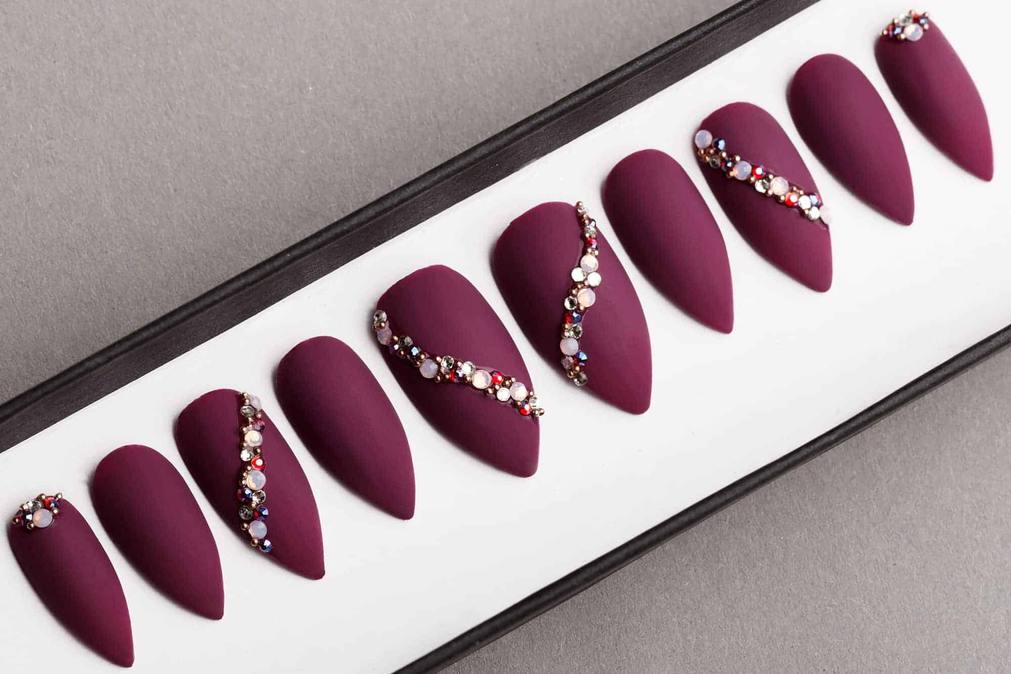 Burgundy Press on Nails with Swarovski Crystals | False Nails | Glue On Nails | Hand-painted Nail Art | Fake Nails