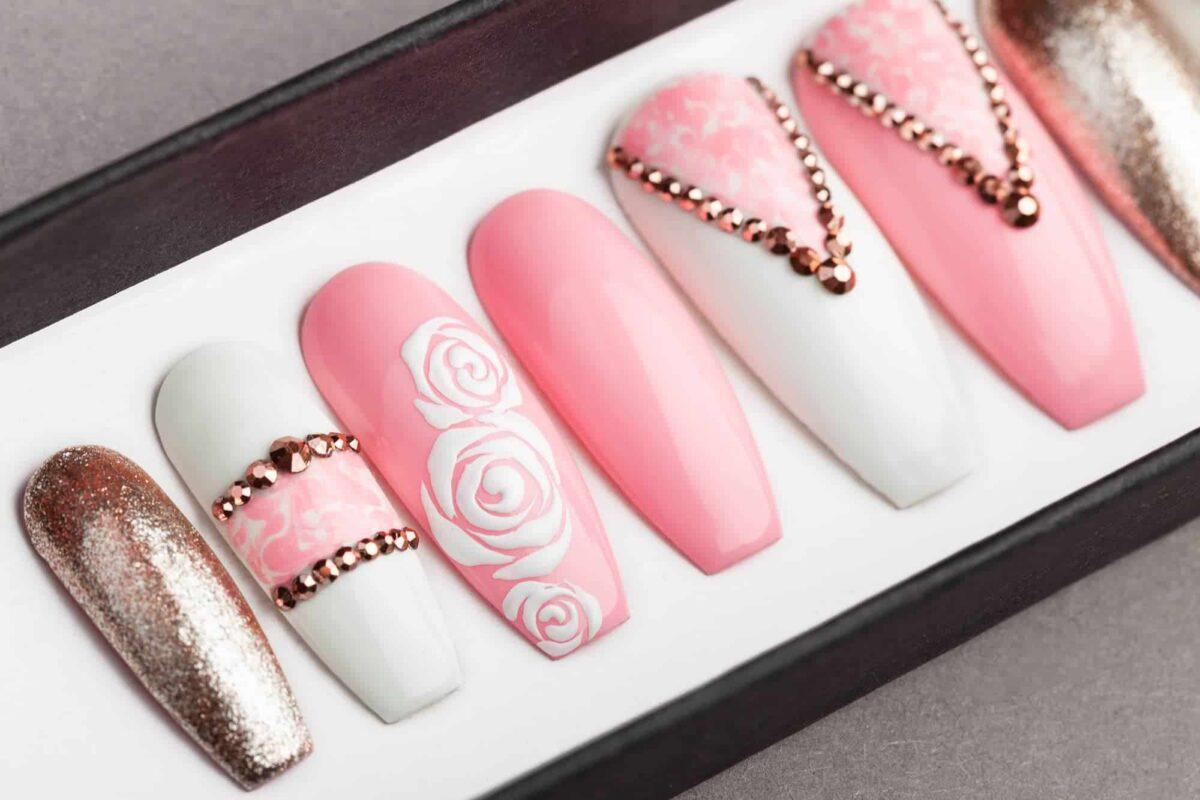 Classy Pink Press on Nails | Rose Gold Swarovski | Roses | Nail Art | Fake Nails | False Nails | Glue On Nails