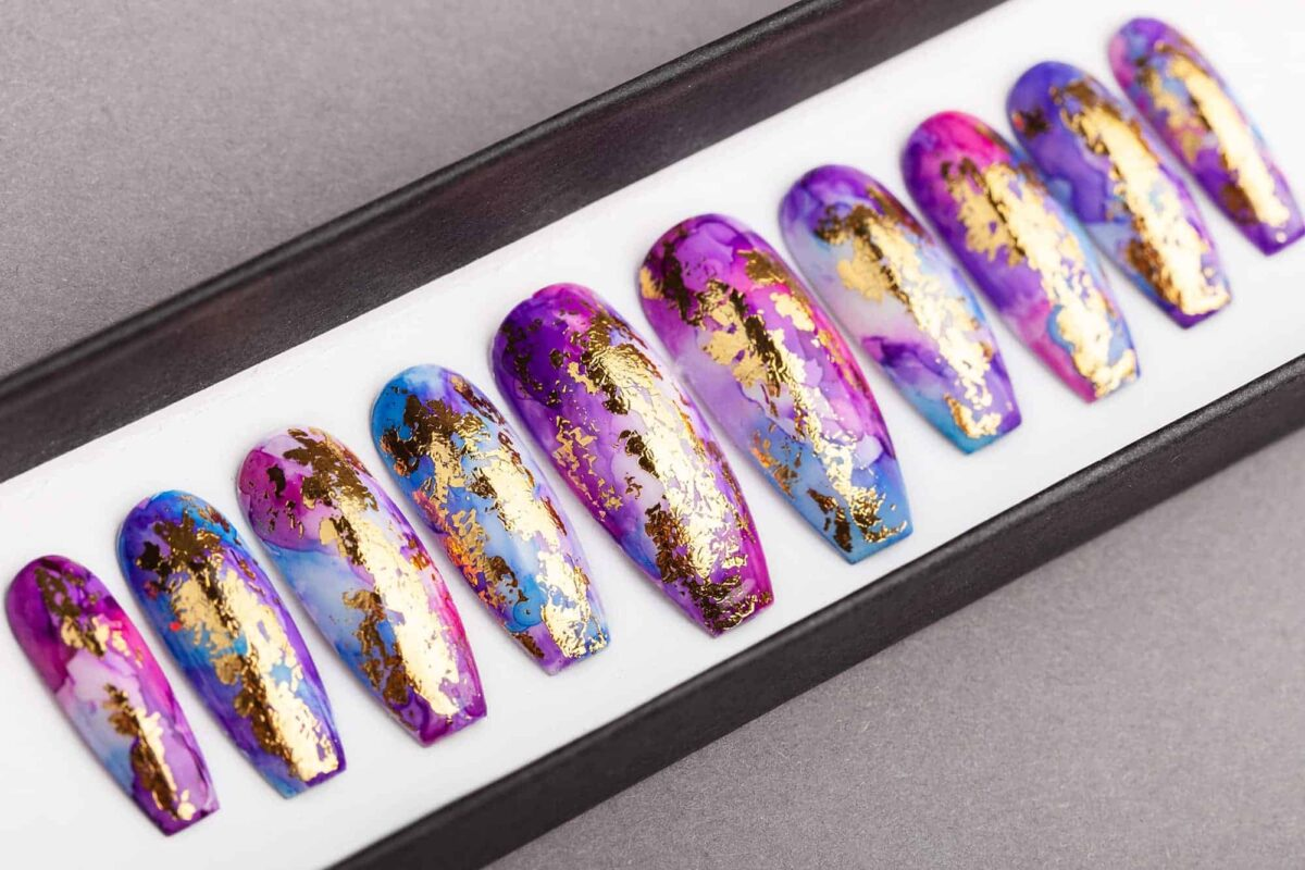 Golden Unicorn Press on Nails | Summer Nails | False Nails | Glue On Nails | Hand-painted Nail Art | Fake Nails