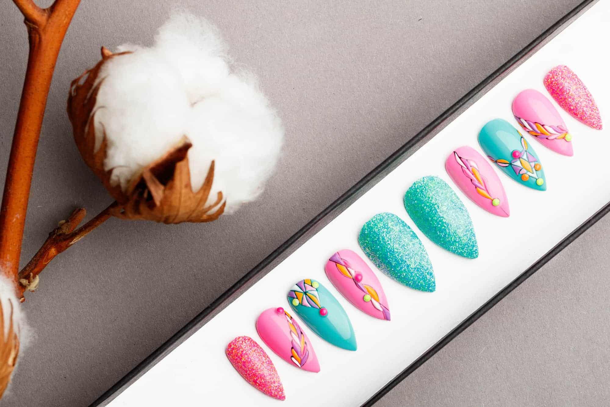 Pink And Turquoise Press on Nails | Fake Nails | False Nails | Glue On Nails | Tracery Nails | Acrylic Nails | Gel Nails