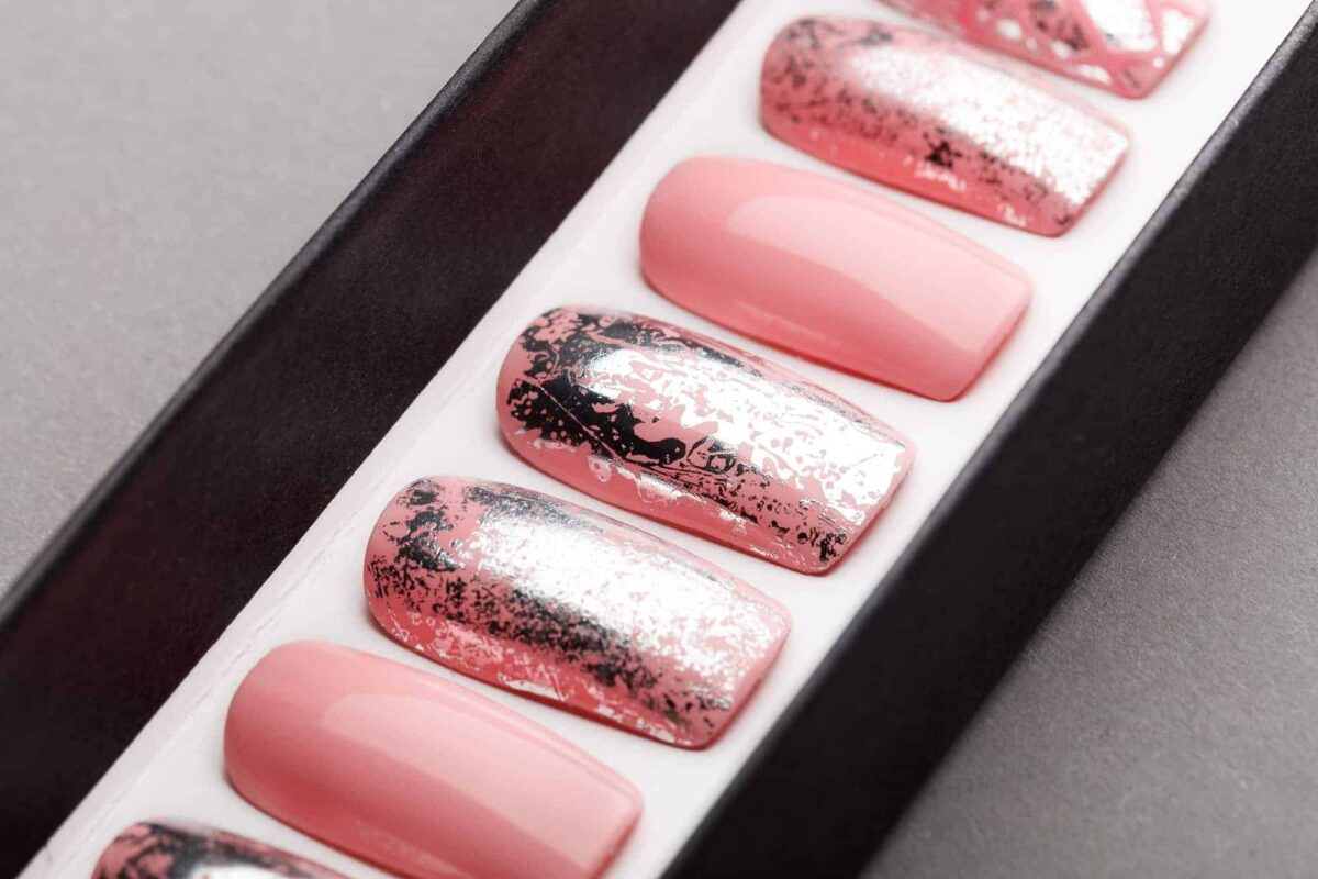 Pink Press on Nails with Silver Foil | Handpainted Nail Art | Fake Nails | False Nails