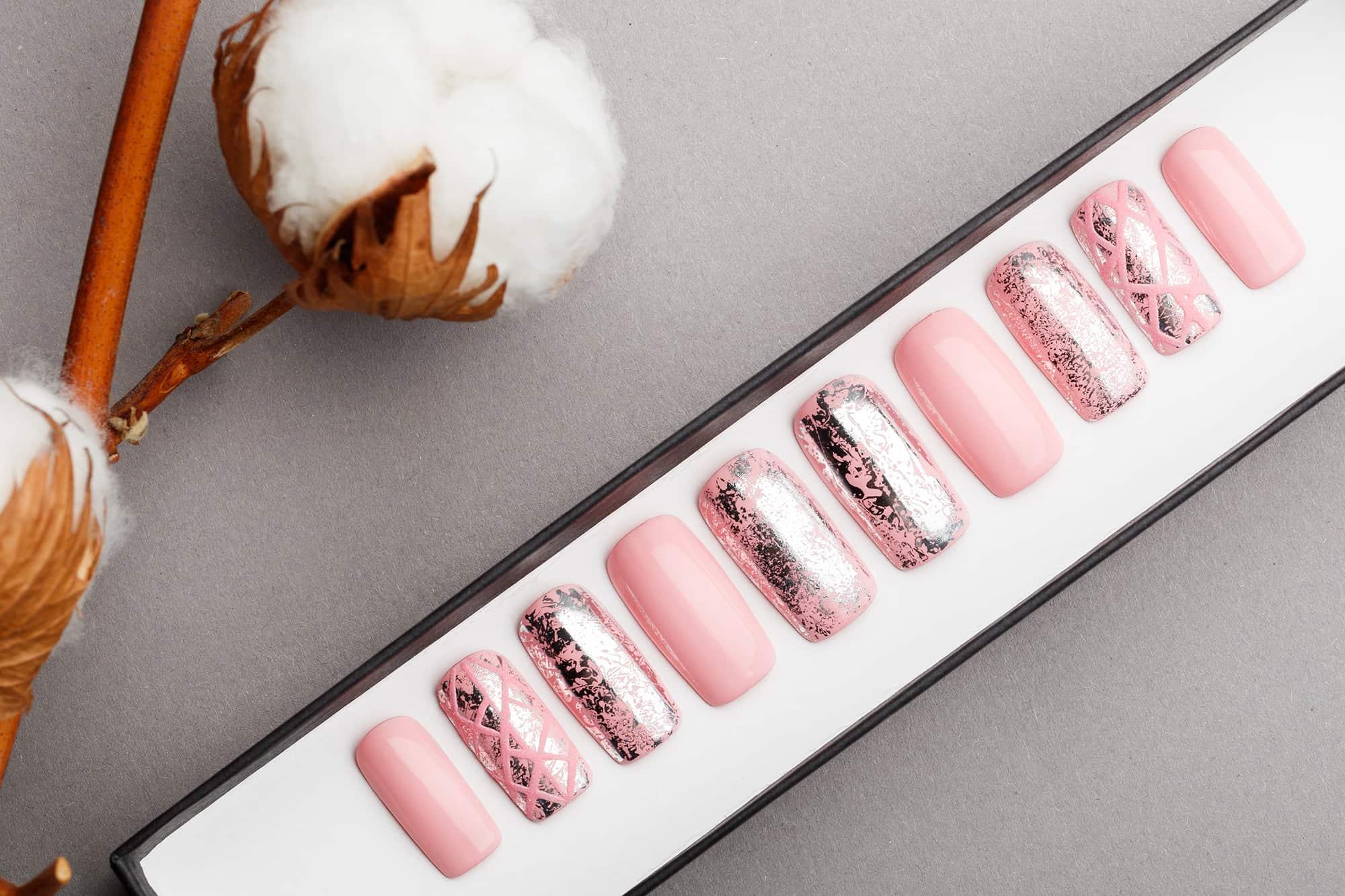 Pink Press on Nails with Silver Foil | Handpainted Nail Art | Fake Nails | False Nails