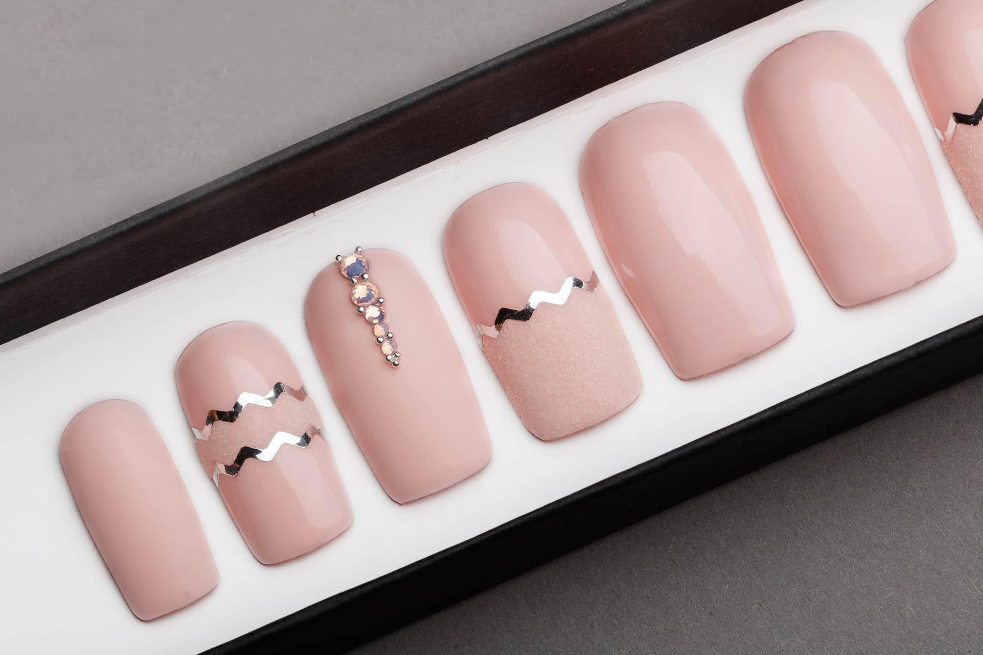 Pink Quartz Matte Press on Nails with Swarovski Crystals   Hand painted Nail Art   Fake Nails   False Nails