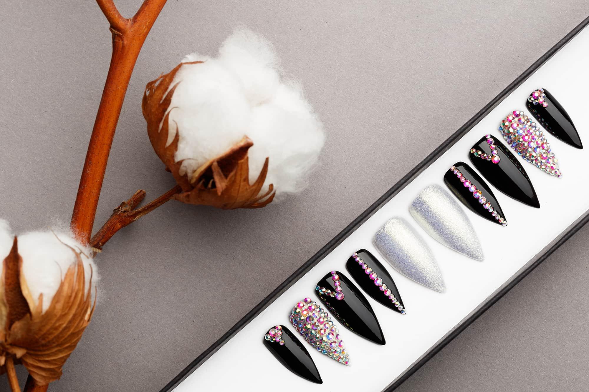 Princess Press on Nails with Swarovski Crystals   White Gold   Hand painted Nail Art   Fake Nails   False Nails