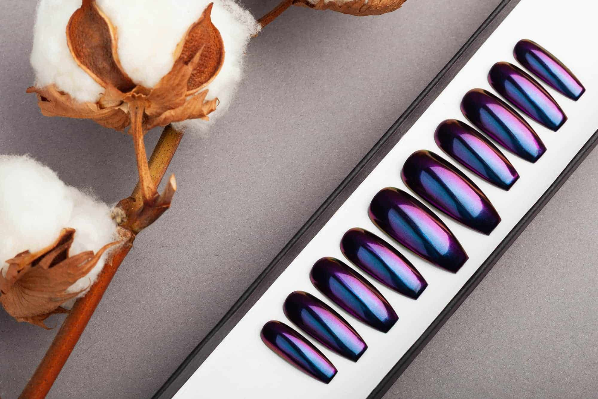 Purple and Blue Mirror Press on Nails