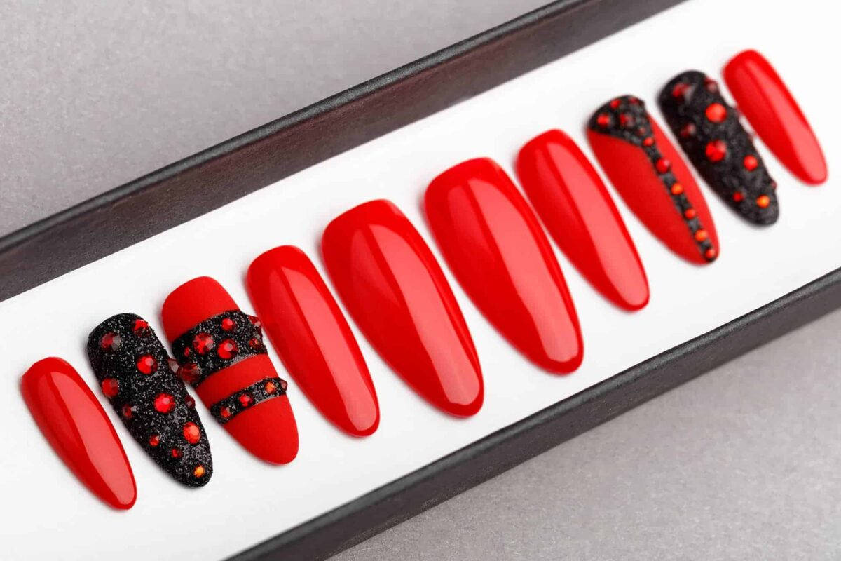 Red and Black Press on Nails with Swarovski | Hand painted Nail Art | Fake Nails | False Nails | Glue On Nails | Acrylic Nails | Gel Nails