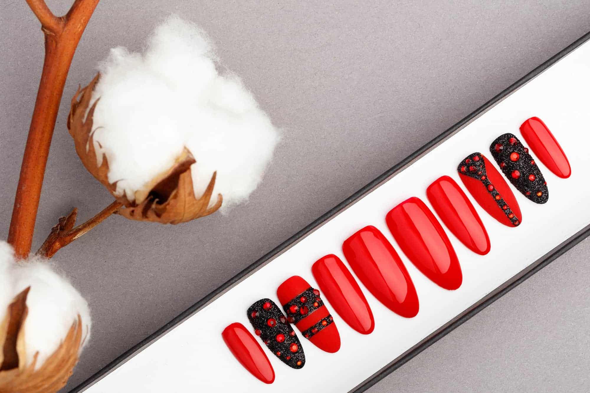 Red and Black Press on Nails with Swarovski   Hand painted Nail Art   Fake Nails   False Nails   Glue On Nails   Acrylic Nails   Gel Nails