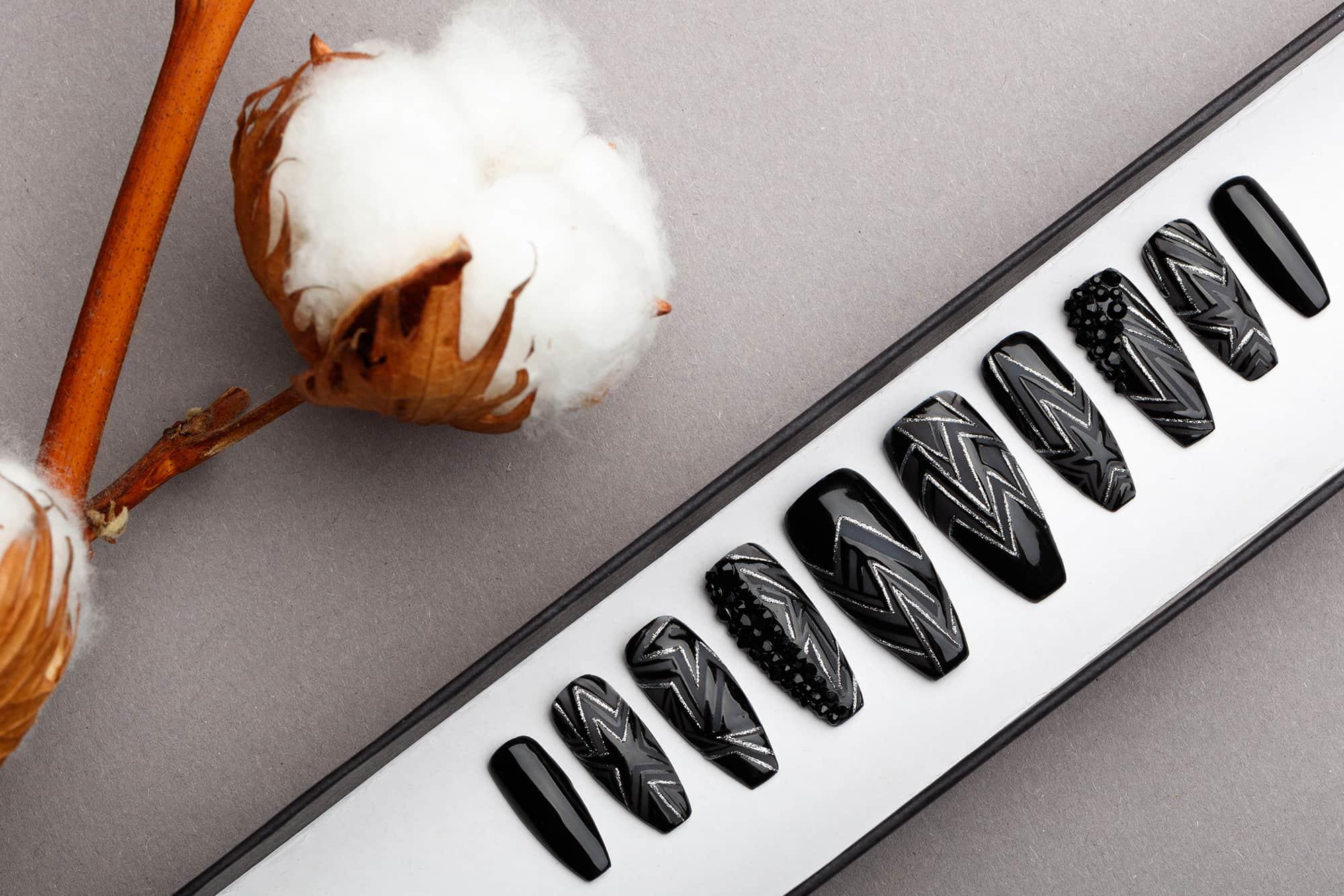 Rock & Roll Queen Press on Nails with Swarovski crystals | Black Nails | Handpainted Nail Art | Fake Nails | False Nails | Mattee Nails