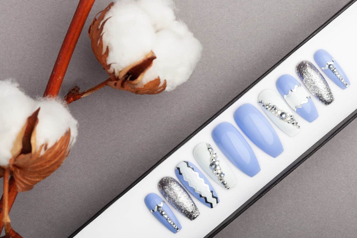 Sky Blue Press on Nails with Swarovski crystals | Hand-painted Nail Art | Fake Nails | False Nails | Glue On Nails
