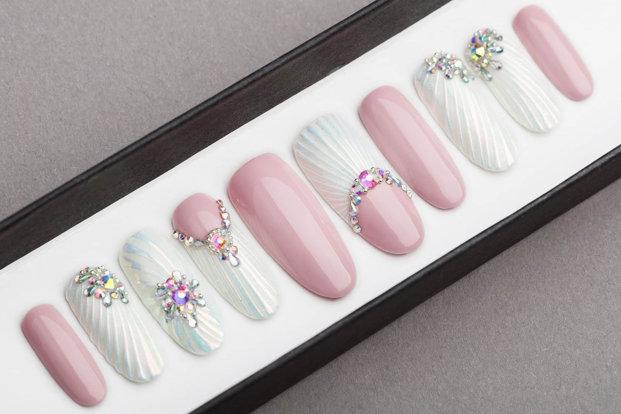 Snow Pearl Press on Nails with Swarovski Crystals | Wedding nails | Hand painted Nail Art | Fake Nails | False Nails |