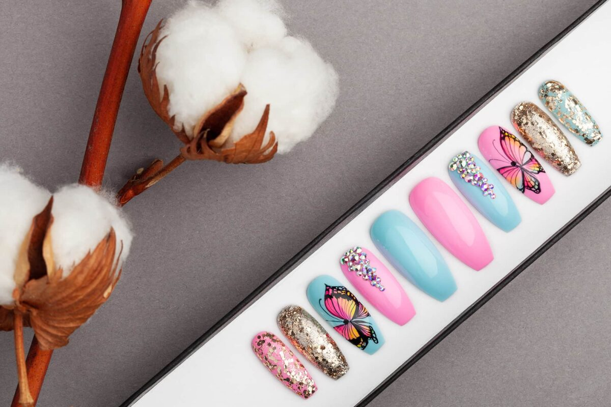 Summer Butterfly Press on Nails with Swarovski Crystals | Hand-painted | Nail Art | Fake Nails | False Nails | Glue On Nails