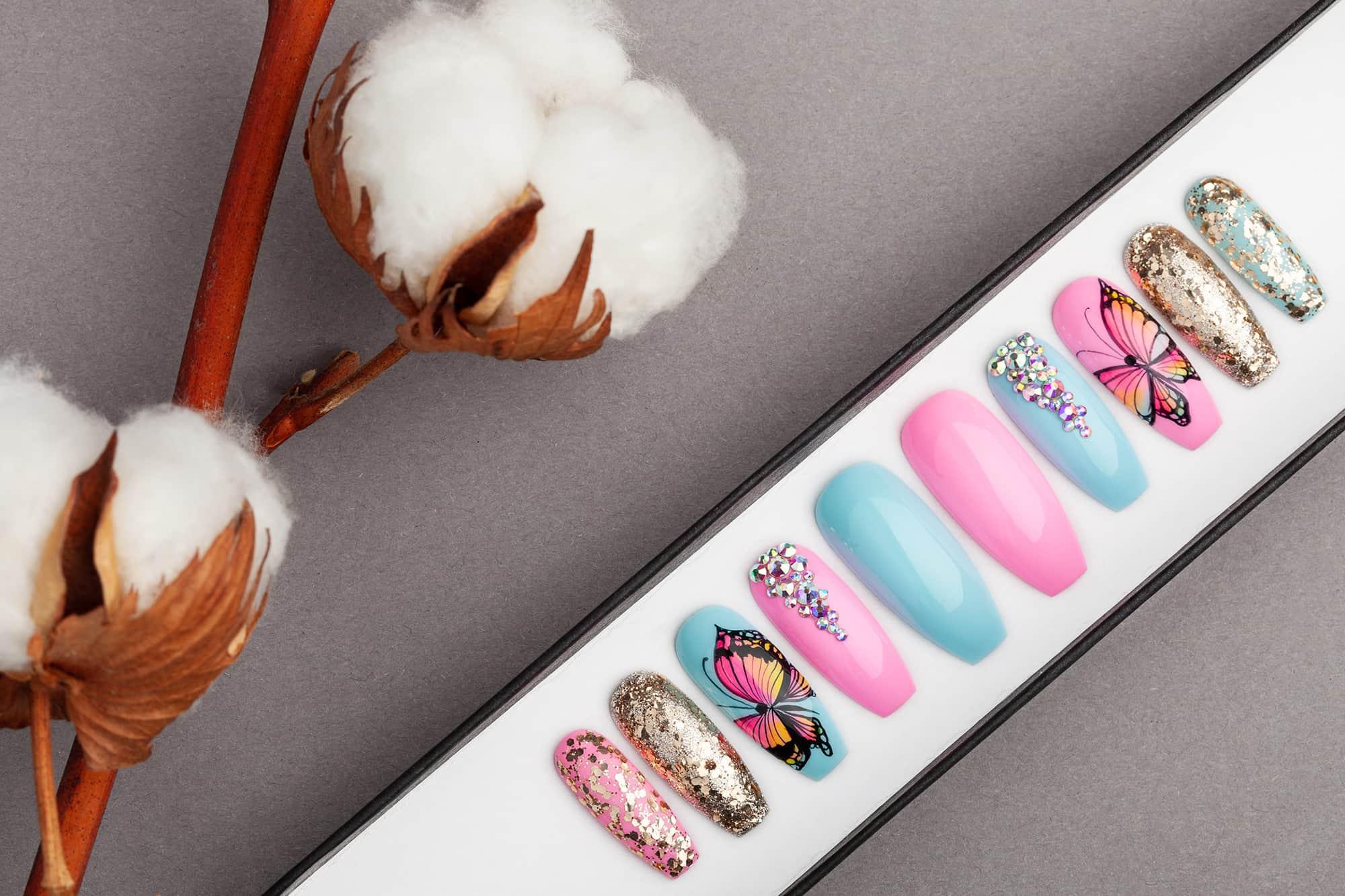 Summer Butterfly Press on Nails with Swarovski Crystals | Hand-painted | Nail Art | Fake Nails | False Nails | Glue On Nails