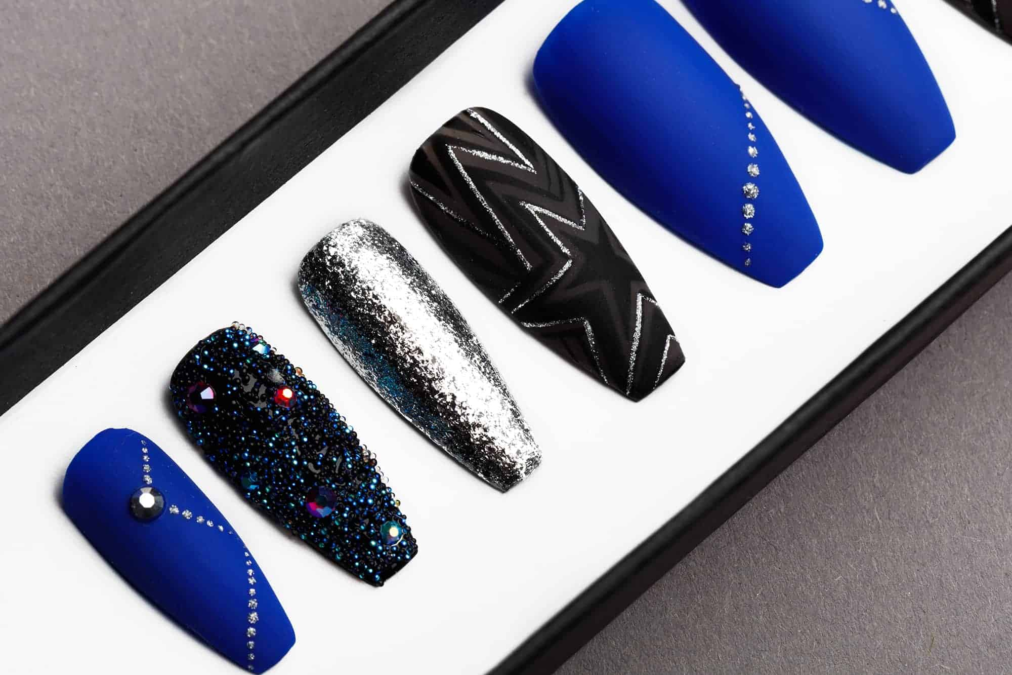 Ultramarine Star Press on Nails with Swarovski Crystals | Unicorn Nails | Hand painted Nail Art | Fake Nails | False Nails | Celebrity Nails