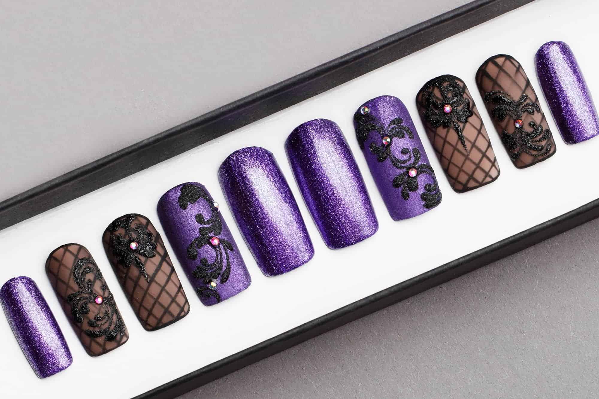 Violet Glitter Press on Nails with Swarovski Crystals | Black Pattern | Hand painted Nail Art | Fake Nails | False Nails