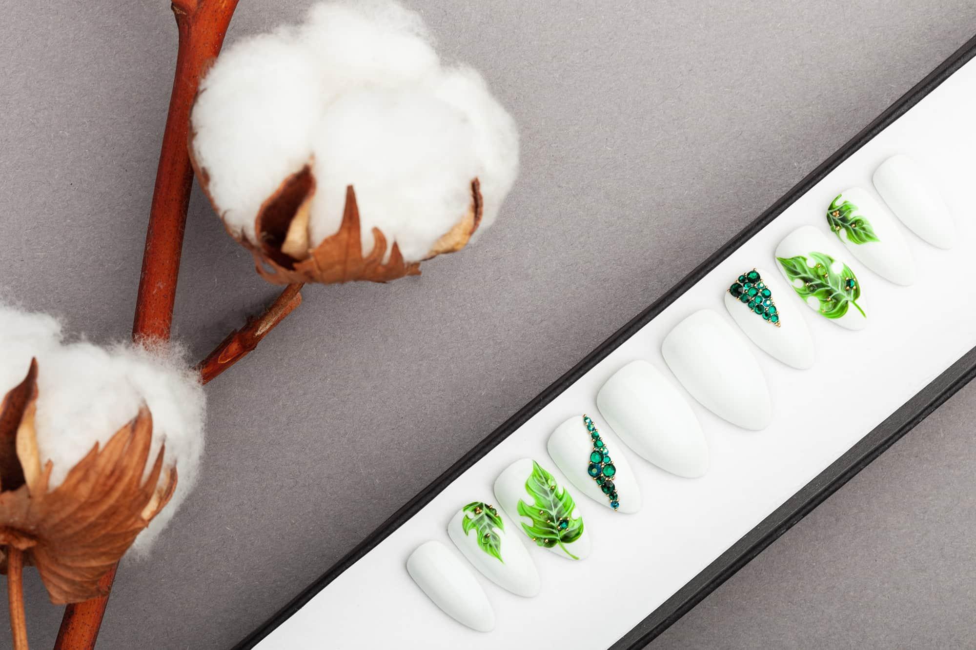 White Press on Nails with Palm Leaves and Swarovski Crystals | Nail Art | Fake Nails | False Nails | Glue On Nails| Acrylic Nails