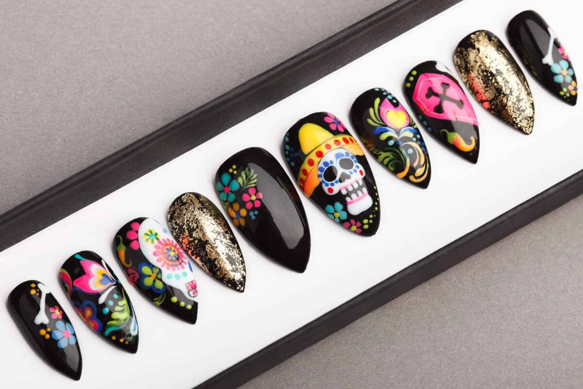 Dia De Los Muertos Press on Nails
