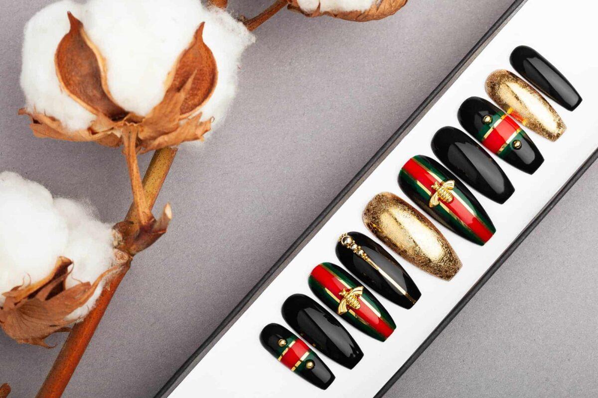 Golden Bees Press on Nails • Fake Nails • False Nails • Glue On Nails • Gel Nails • Acrylic Nails