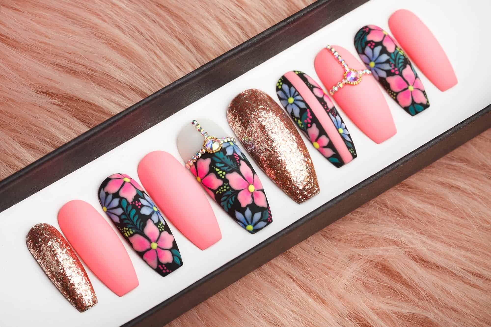 Summer Night Press on Nails with Swarovski Crystals • Fake Nails • False Nails • Glue On Nails • Flowers on nails