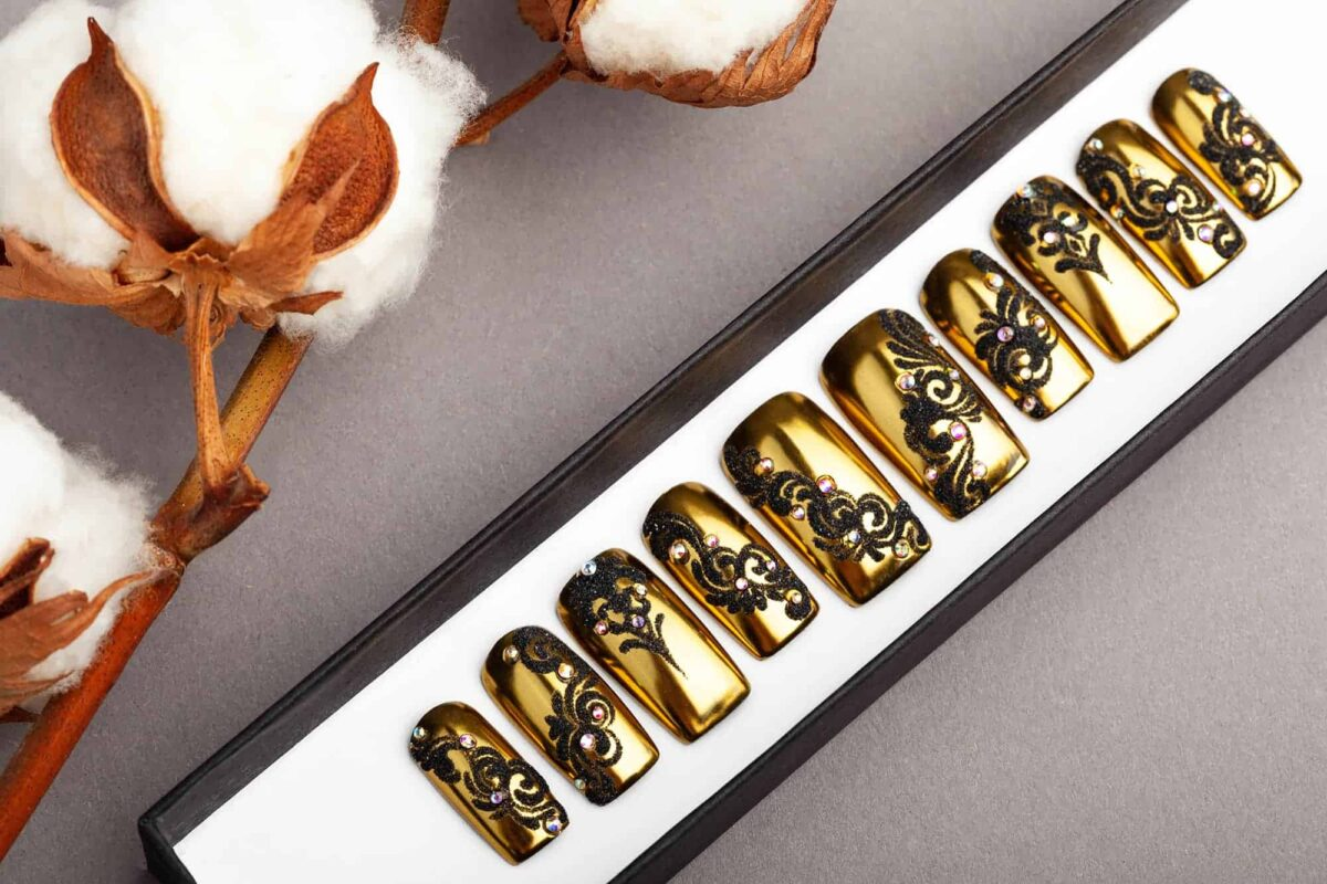 Laces on Gold Press On Nails with Rhinestones