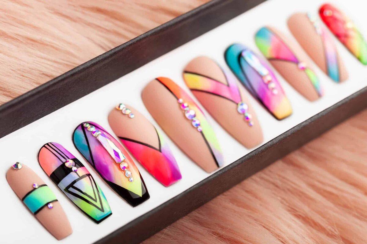 Aquarelle Geometry Press on Nails