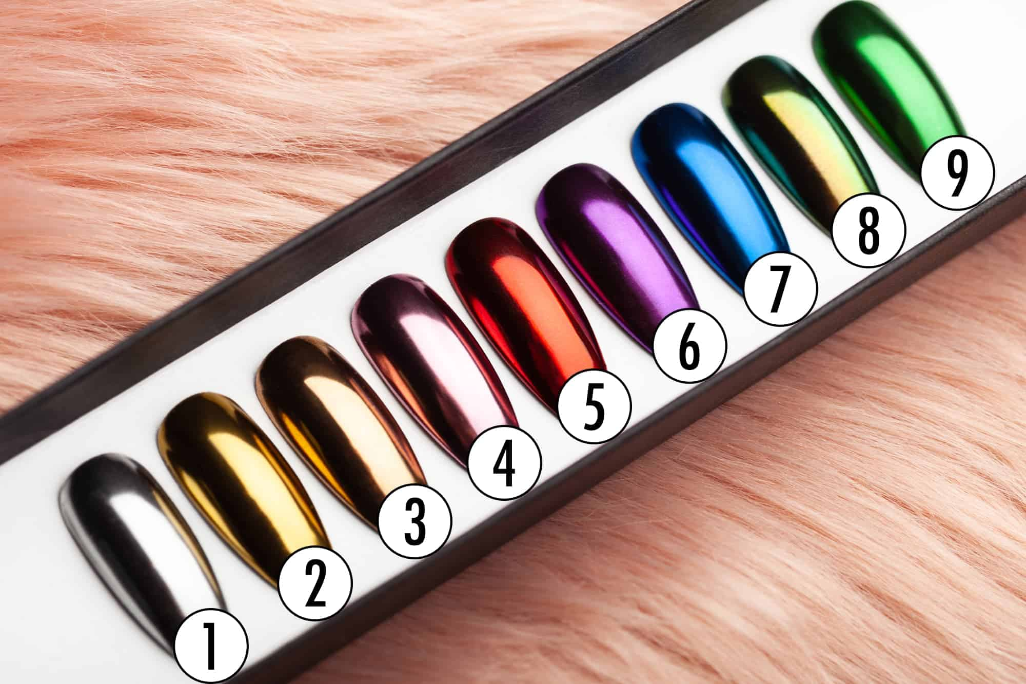 Color Selection Chrome Press on Nails