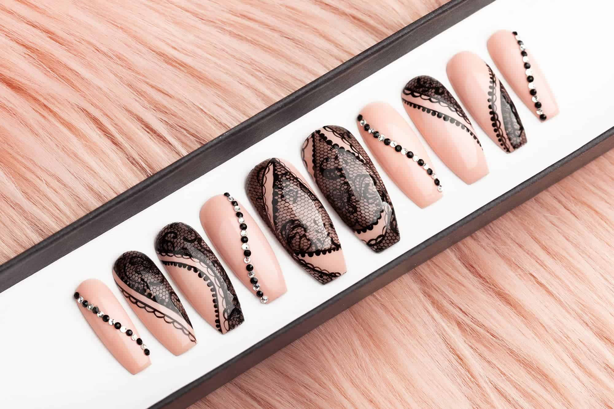 Beige Press on Nails with Black Laces and Rhinestones