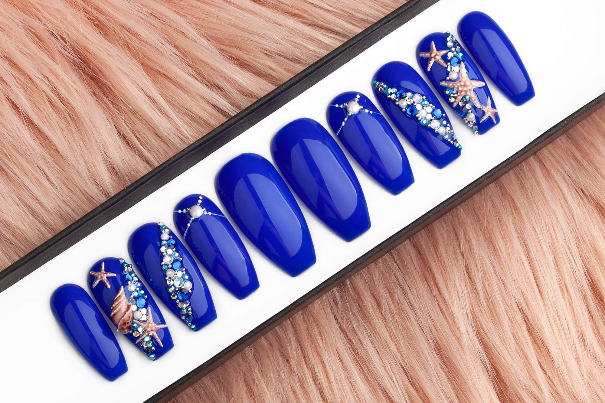 Deep blue color set of press on nails with Swarovski crystals and acrylic sculpted sea shell and sea star