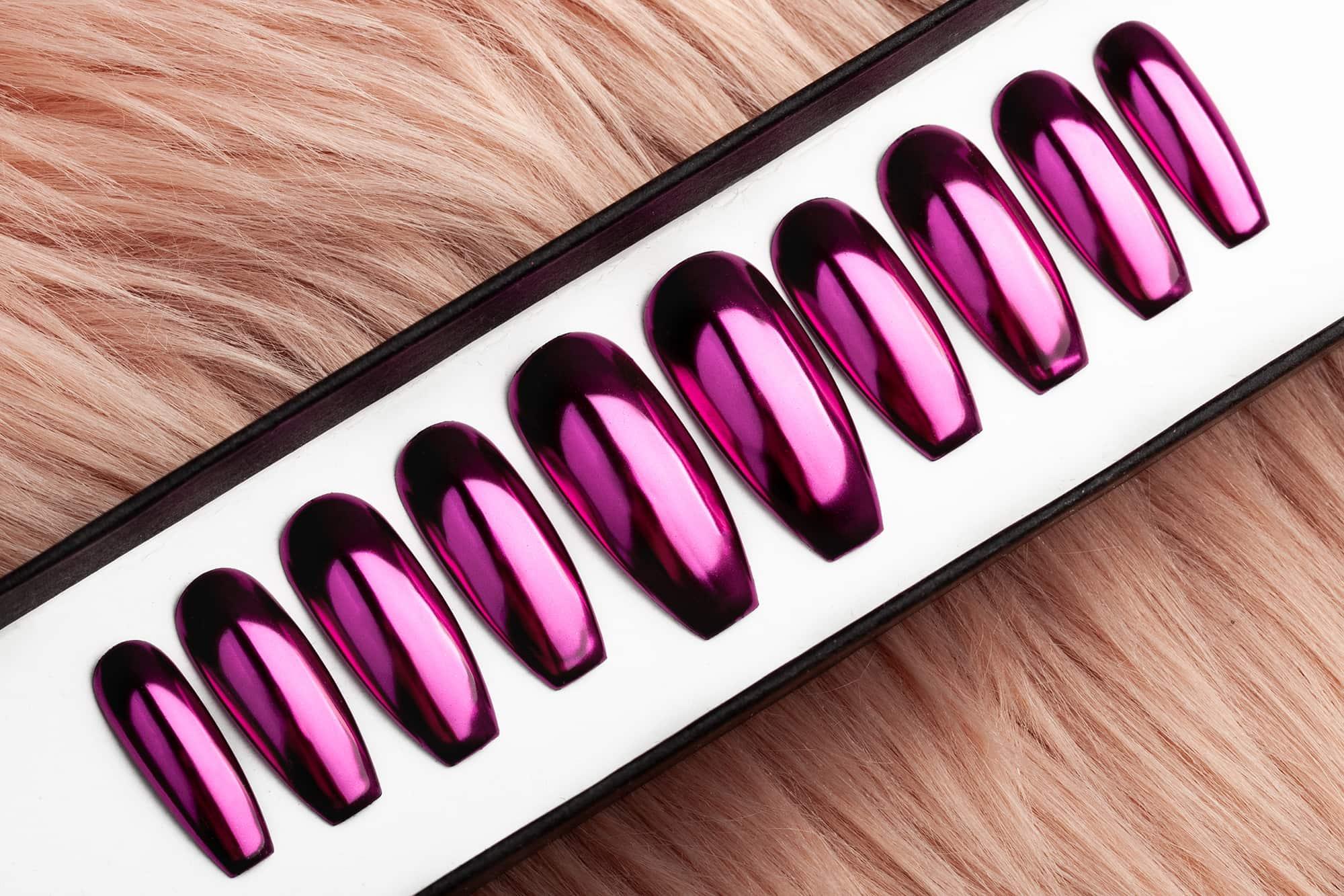 Fuchsia Mirror Press on Nails