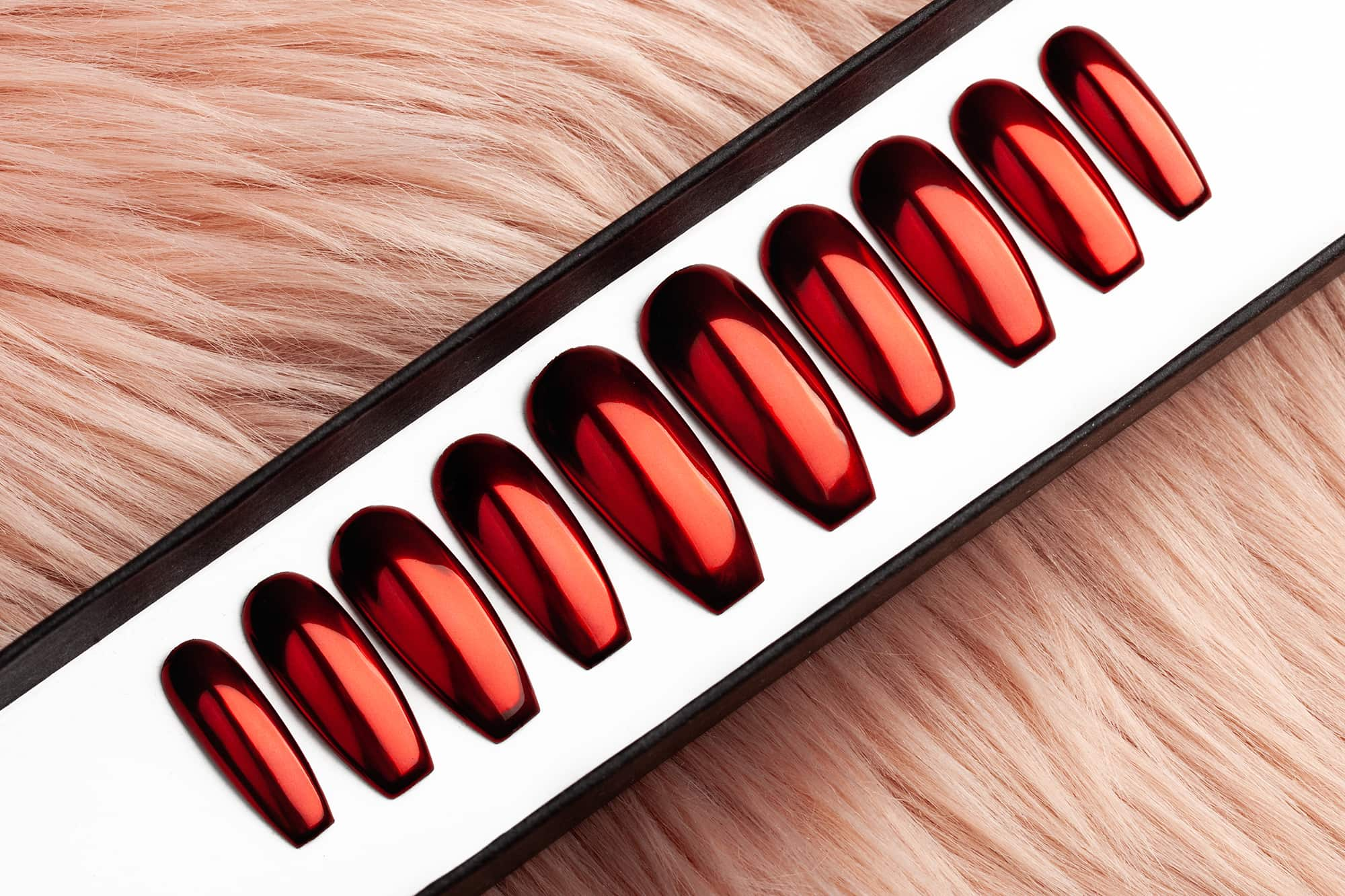 Red Mirror Press on Nails