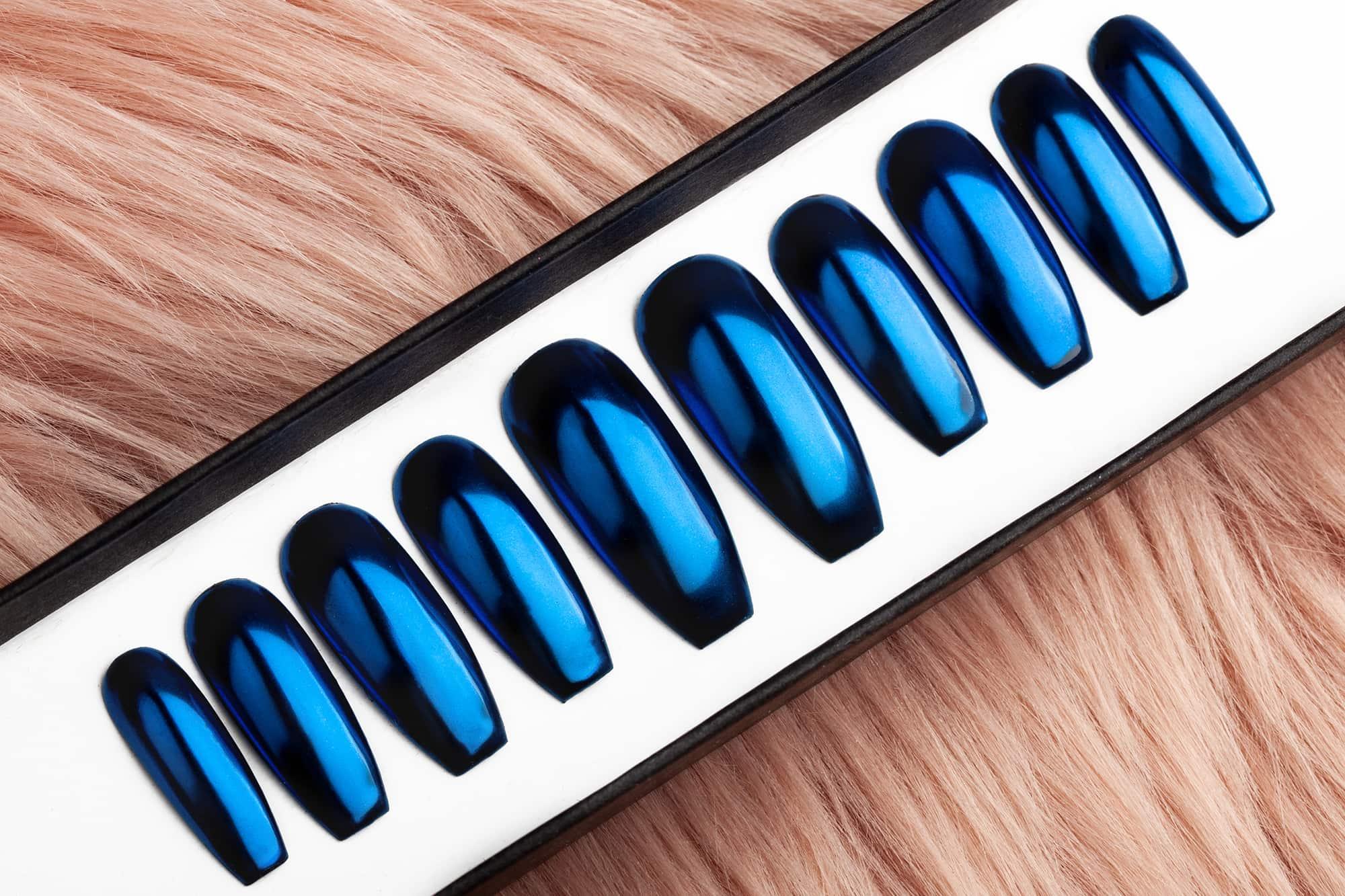 Royal Blue Mirror Press on Nails
