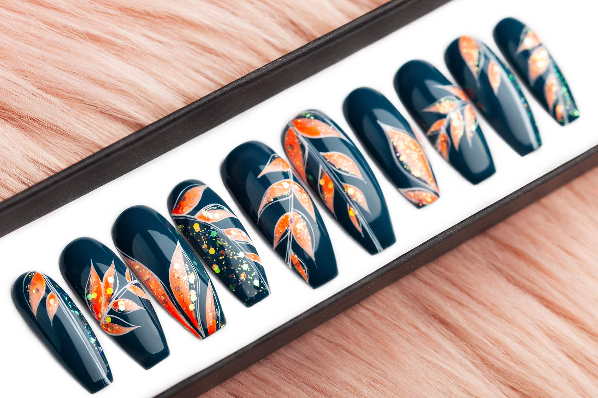 Jungle press on nails with orange leaves